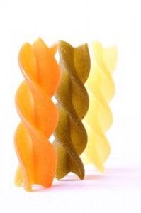 multicolored fusilli dried pasta