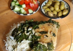 mloukhia by Sarah Melamed, an Egyptian fish dish