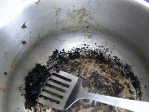 Burnt pressure cooker from my cooking disaster.